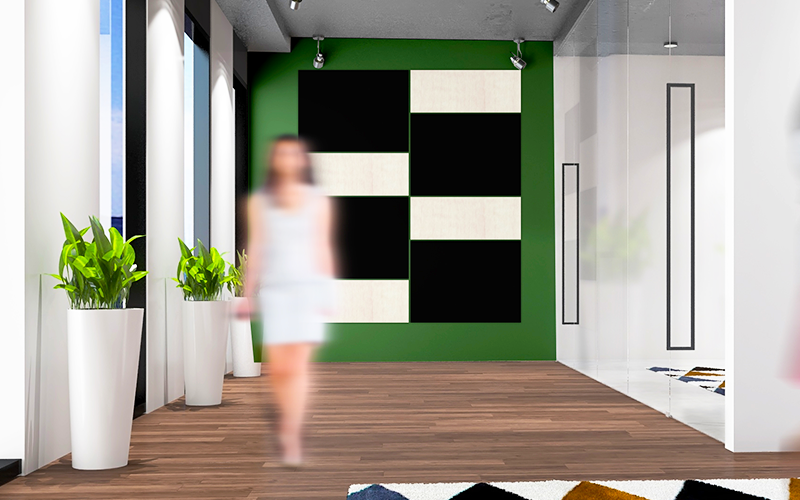 Architectural Focal Art Wall - Black & Beech Grain Panels