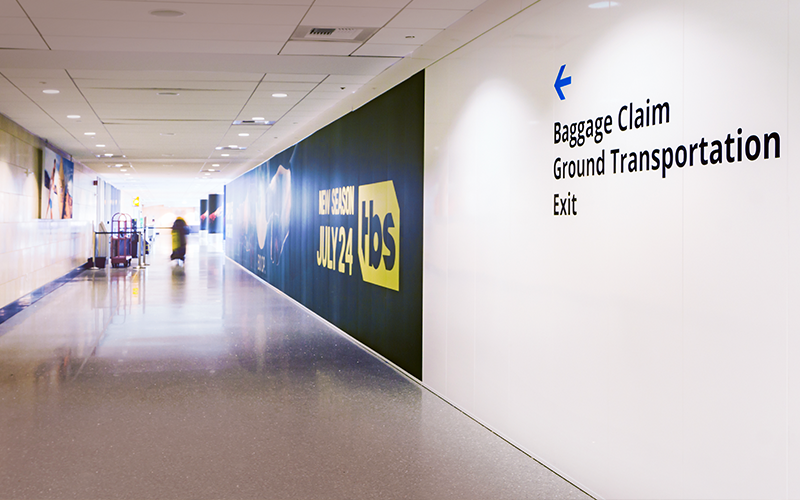 Way Finder Graphics on Temporary Walls at San Diego Intl Airport (SAN)