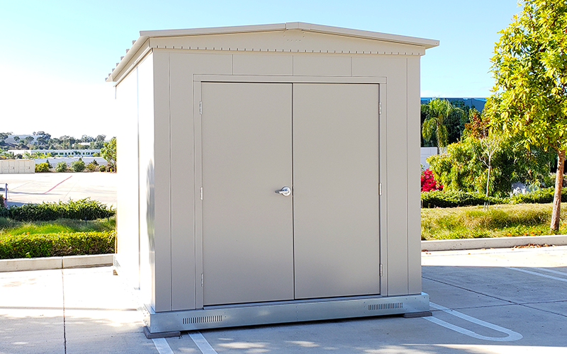 Desert Tan Shed with Double Doors on a Steel Base (Optional)