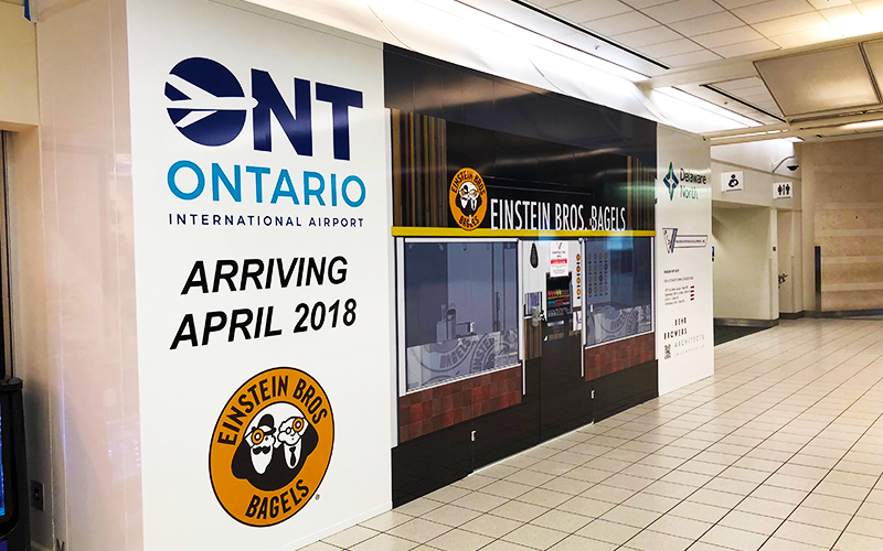 Graphics Wrap on a Temporary Barricade at the Ontario Intl Airport (ONT)