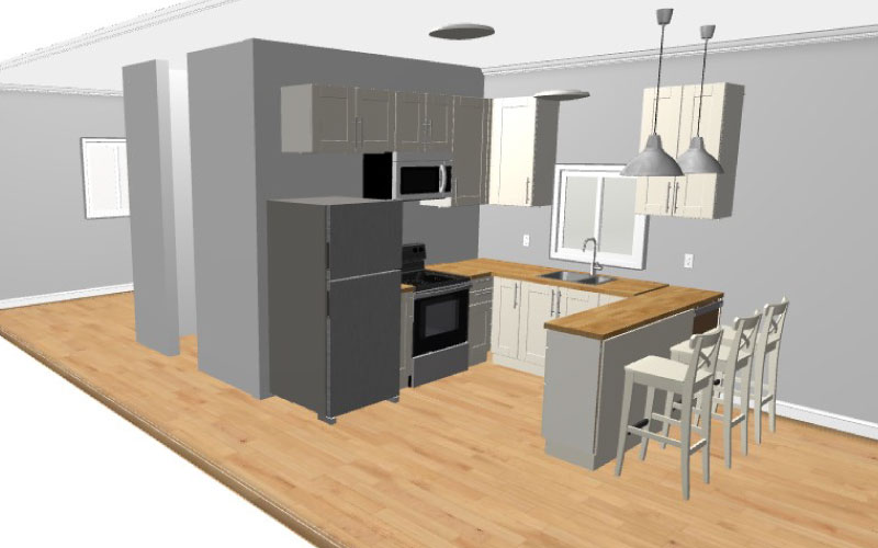 Functional Kitchen (Cabinets, Appliances, Lighting)